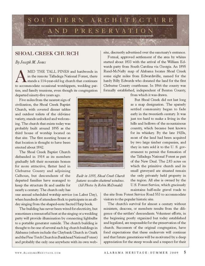 Alabama Heritage Magazine article page 1