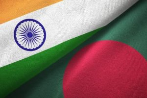 Bangladesh and India two flags together textile cloth fabric texture