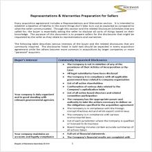 Reps & Warranties checklist