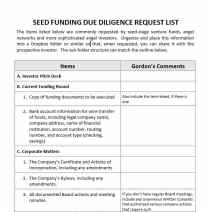 seed due diligence list