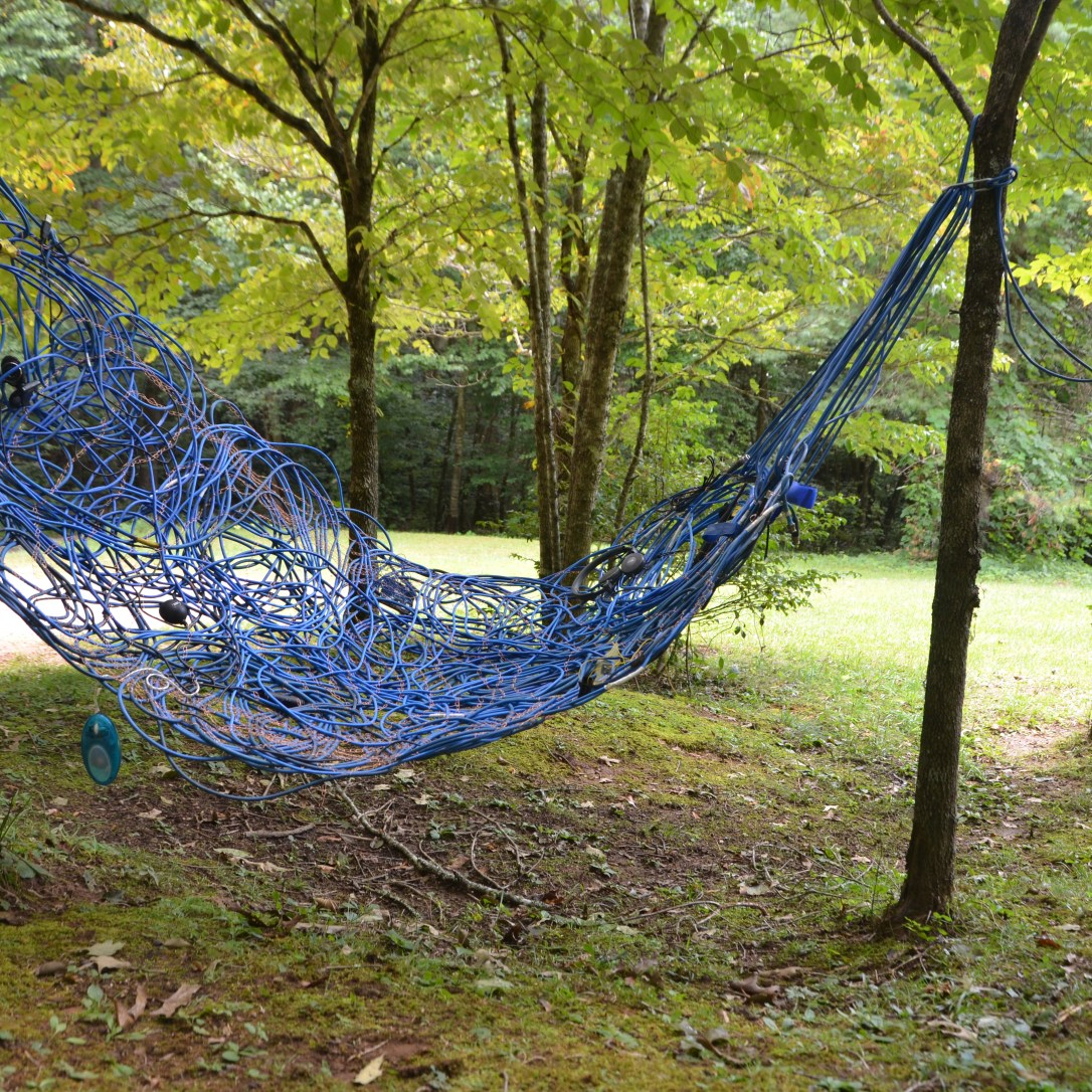 "Chenhung Chen My Blue Hammock Coated wire, electrical cable & found objects 36""x36""x78"" 2017 https://www.chenhungchen.com/"