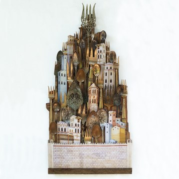 Scott Rolfe The City Gates Utensils (spoons forks) collage elements and plywood 12 x 24 x 2 inches https://www.srolfe.com/