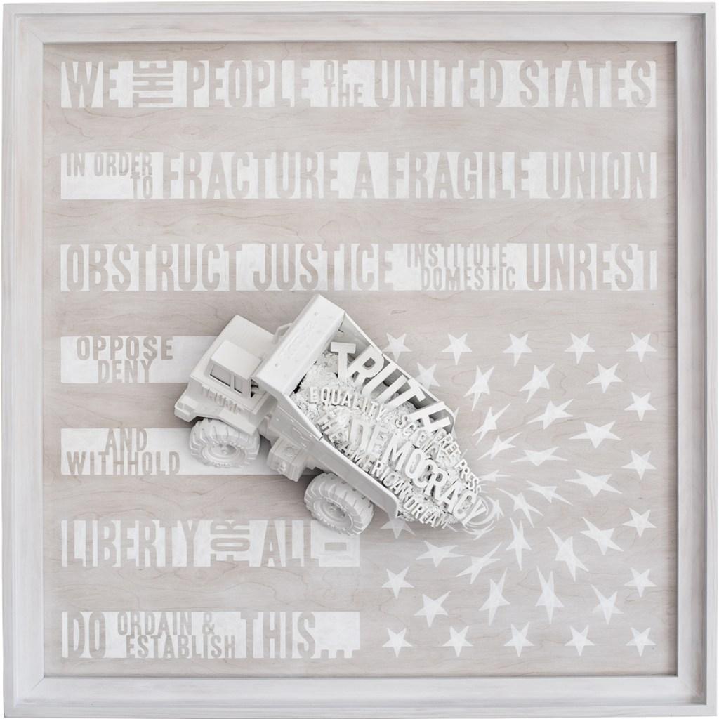 Whitewashing of America, Dump Trump, 2019 Acrylic on whitewashed wood, assemblage: wood, action figure, toy truck. 47.5″ x 47.5″