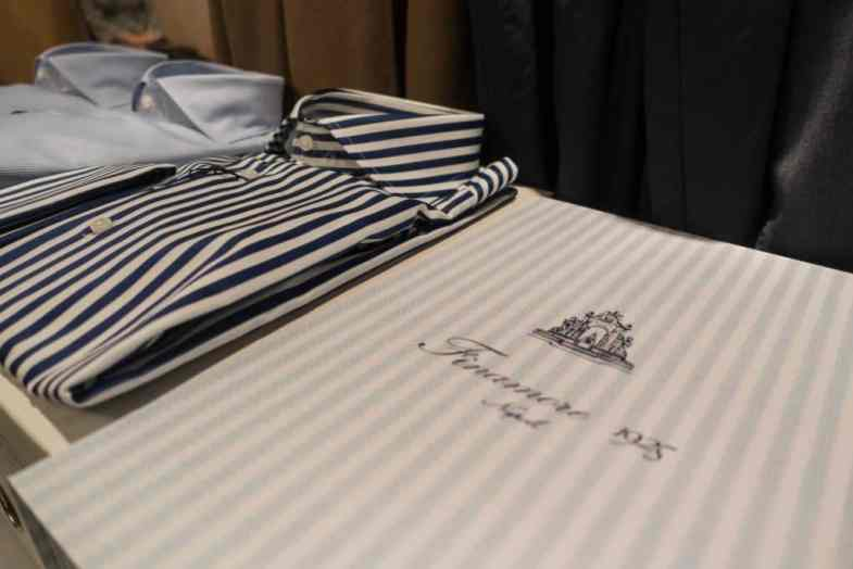 Shirts from Finamore on Spiga 3's table.