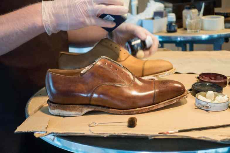 A shoe he had painted.