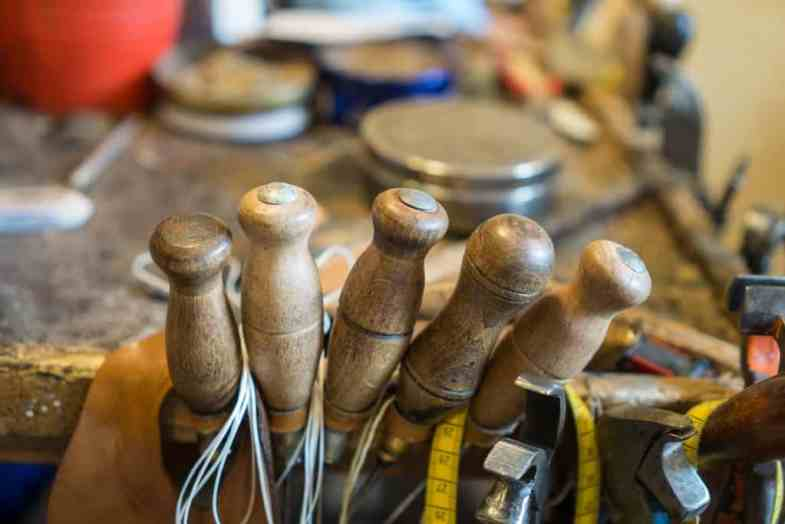 Tools with well-used handles.