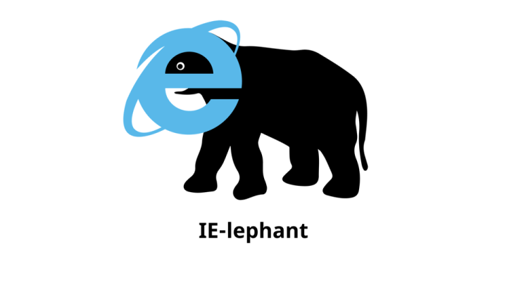 Internet Explorer logo merged onto the body of an elephant.