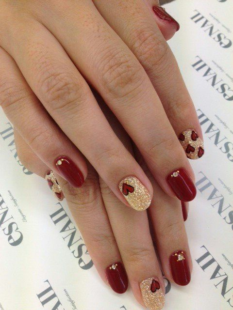 Gold And Red Nails : nails, Nails, Shoes, Beauty