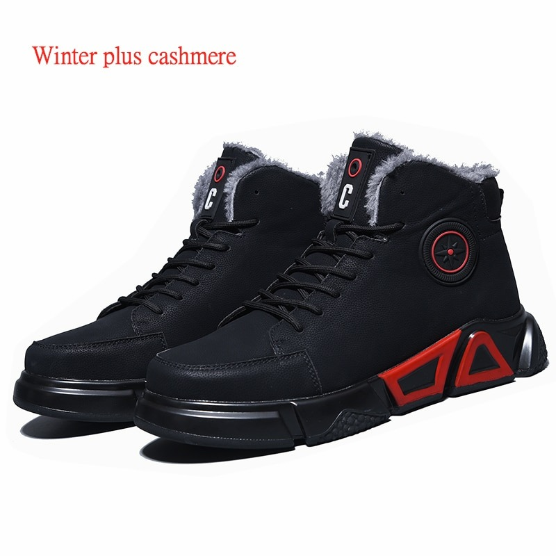 New exhibition waterproof Genuine Leather Safety shoes steel toe cap anti-smashing Work Boot Winter Plush Warm Military Men Boot 2