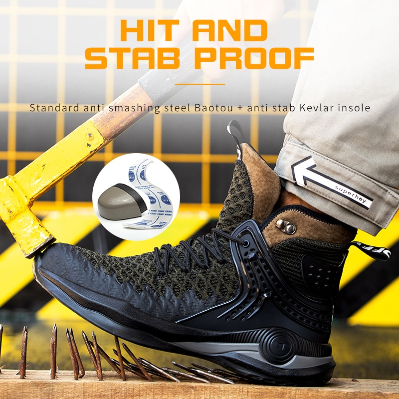 Winter Safety Boots Men Lightweight Comfortable Steel Toe Cap Anti-Piercing Outdoor Foot Protection Work Shoes Sneaker Big Size 2