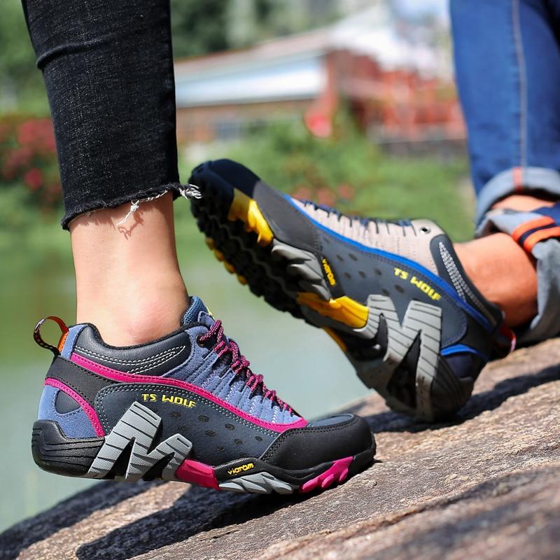 Women Genuine Leather Hiking Shoes Waterproof Non-slip Ladies Camping Travel Sport Climbing Shoes Mountain Trekking Sneakers 2