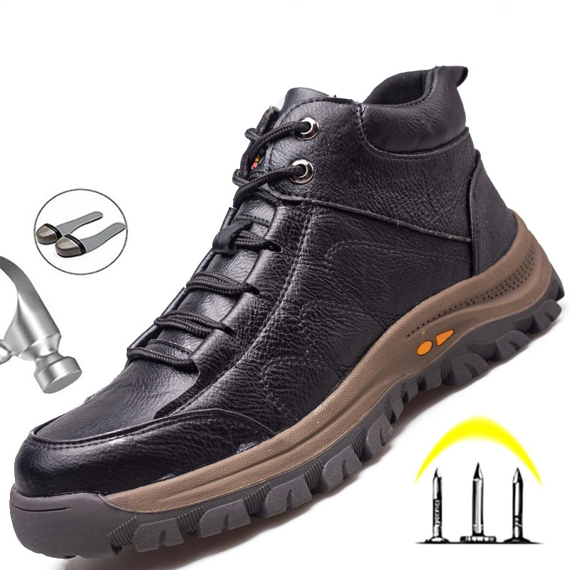 Indestructible Work Boots Safety Steel Toe Shoes Men Outdoor Work Shoes Puncture-Proof Safety Shoes Men Winter Shoes Men Boots 2