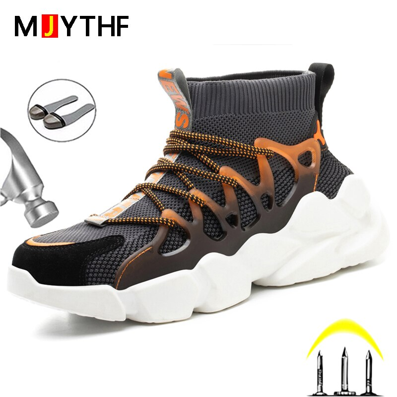 New Safety Shoes Men Indestructible Sneakers Socks Shoes Work Boots Puncture Proof Work Sneakers Safety Boots Steel Toe Shoes 2