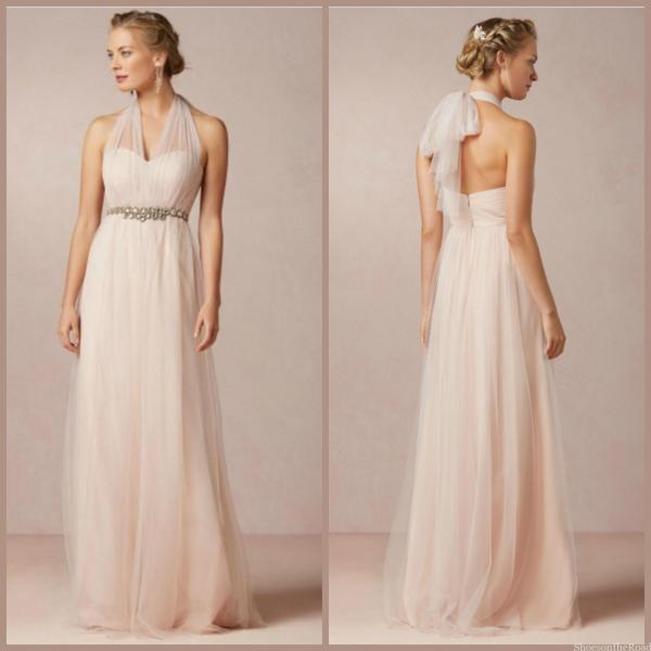 Halter A-line Floor-length Sleeveless Zipper Bridesmaid Dresses_shoesontheroad