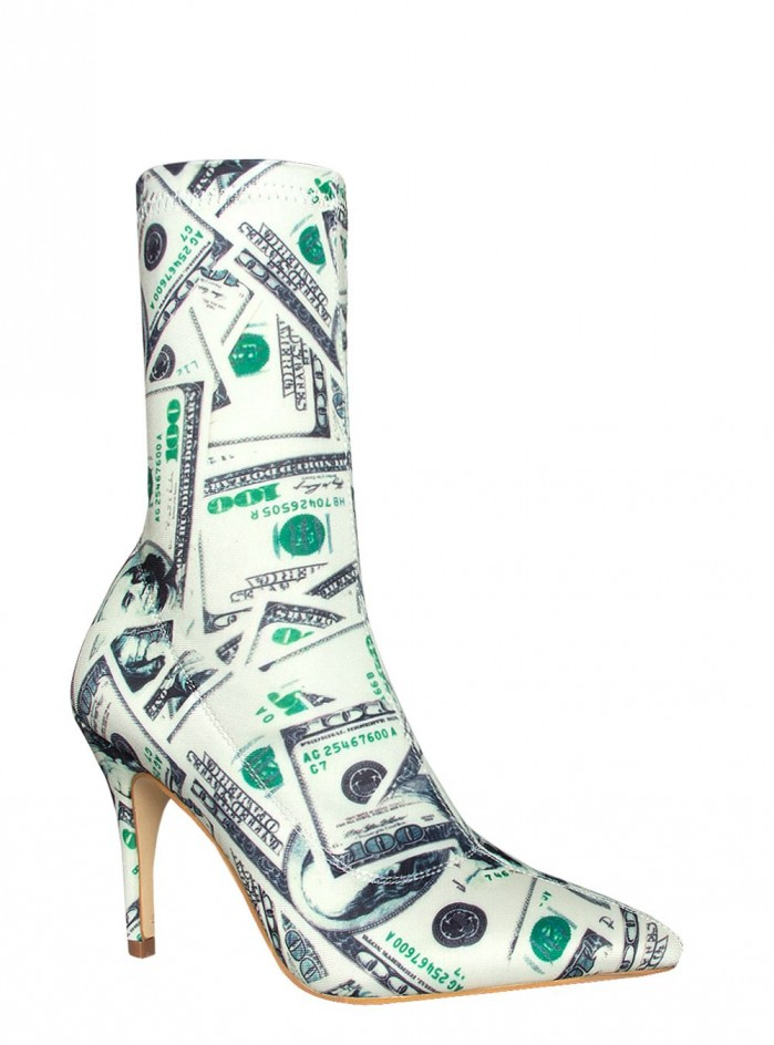SIMMI DINARA DOLLAR PRINT STILETTO ANKLE BOOTS  Shoes Post