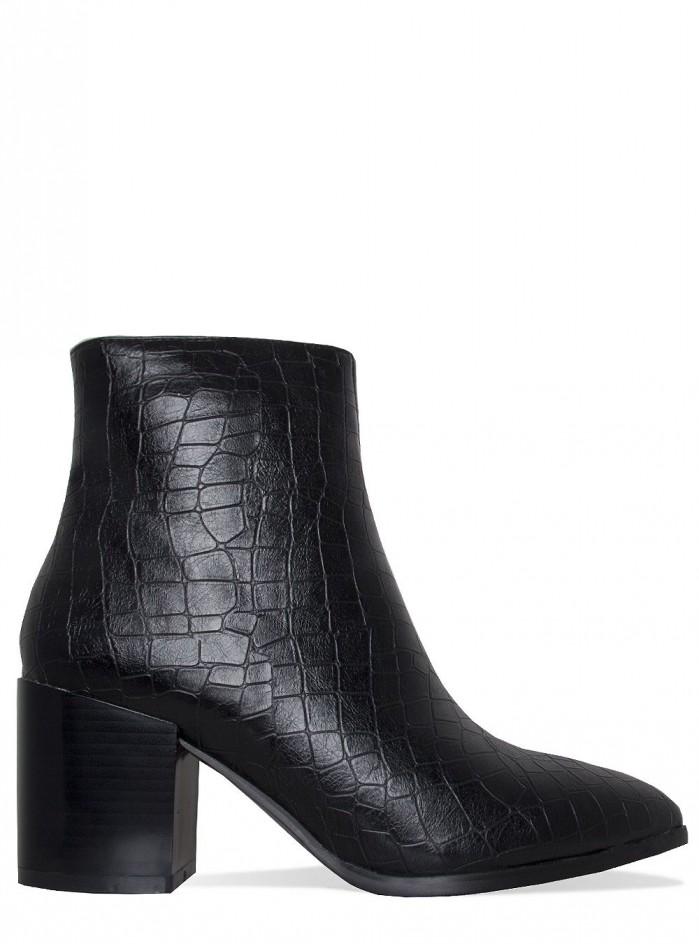 SIMMI ANYA BLACK CROC BLOCK HEEL ANKLE BOOTS  Shoes Post
