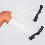 bota feminina strecth off white estilo meia, com ziper na lateral parte interna loja on line1