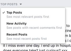 Facebook group newsfeed preference menu