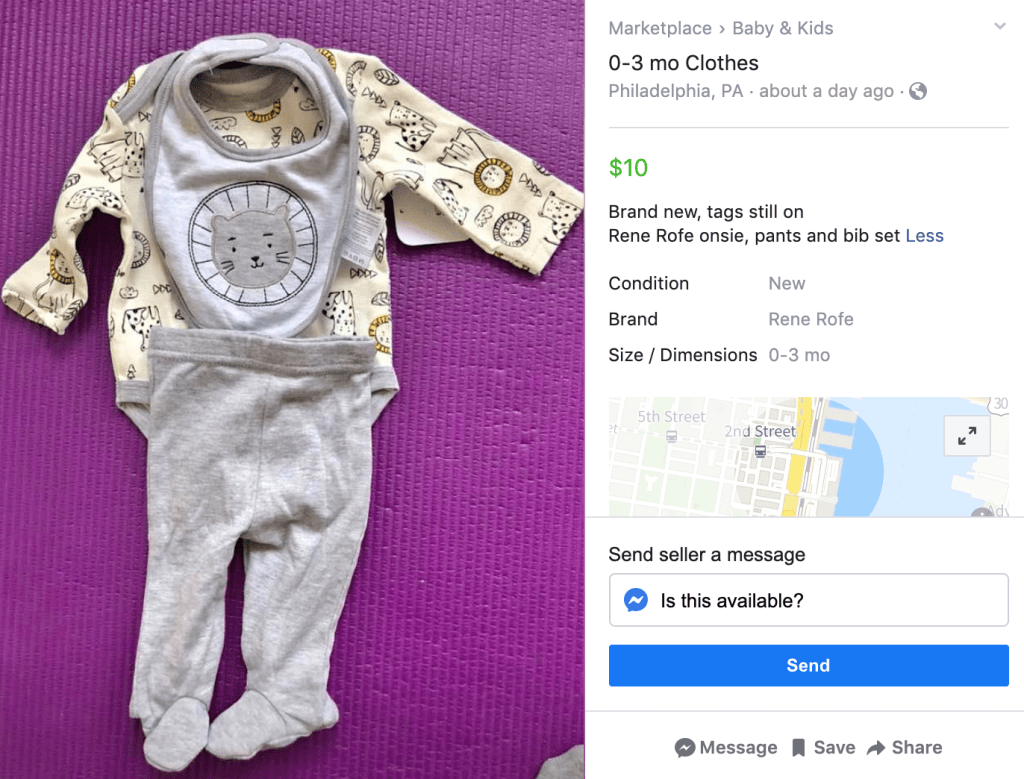 An example of a baby item Facebook Marketplace sales listing