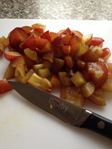 Chopping up the plums