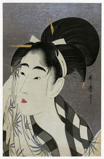 Woman Wiping Sweat by Kitagawa Utamaro