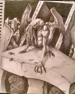 Image is a humanoid figure crawling out of rune lined ruins. It has large batwings and a tentacle covered face. This creature is Cthulhu.