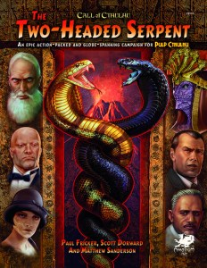 a book cover featuring 3 faces along each side and a gold and black snake wrapped around eachother in the center. The title is Two Headed Serpent