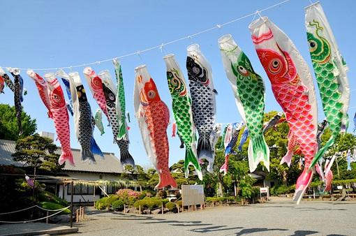 白旗神社@藤沢本町:大空を無数の鯉のぼりが泳ぐ牛若まつり