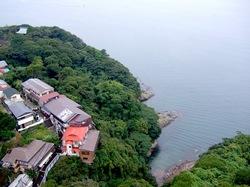 海が見える江ノ島の食事処江之島亭の屋根