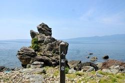 新潟県佐渡島の真野湾の人面岩