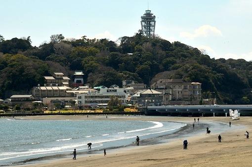 江ノ島が陸続きになるトンボロ現象2015
