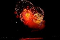 鎌倉花火大会の材木座からの眺め