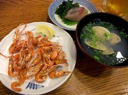 藤沢市善行の海鮮居酒屋きときとの川エビなどおつまみ