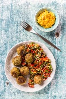 Falafel mit Tabouleh und Hummus, Studio
