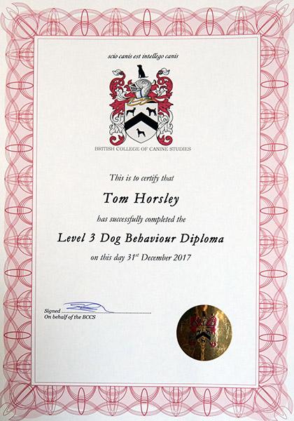 BCCS Certificate - Dog Behaviour