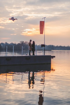 Sunset engagement photos at Rutland Water