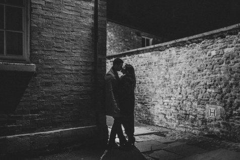 Backlit kissing shot on the streets of Oakham