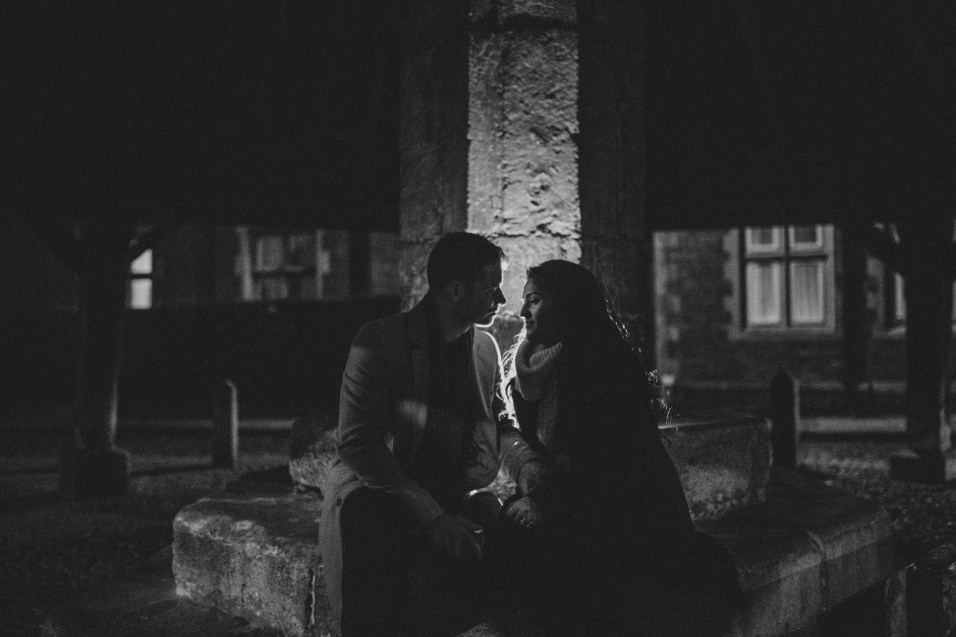Black and white backlit engagement photo
