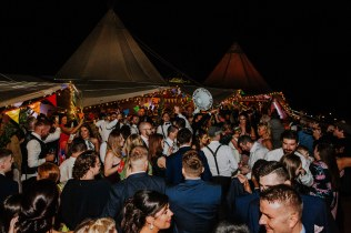 Festival themed wedding with outside dance floor