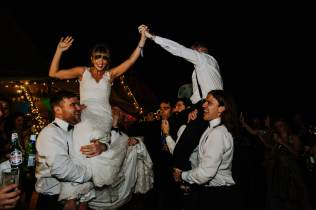 bride and groom with new york brass band