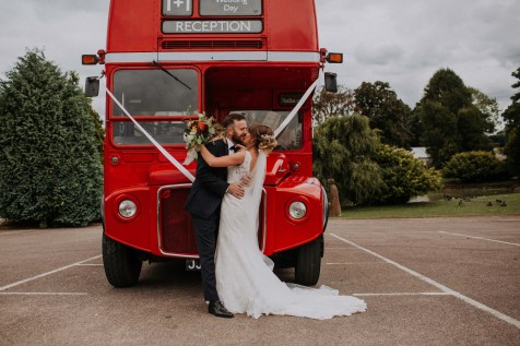 Big red London wedding bus