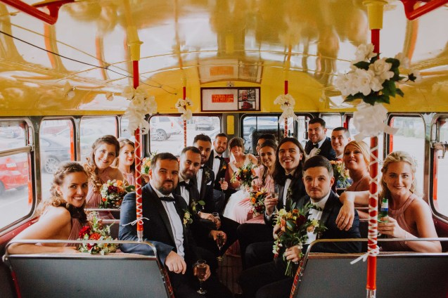 Wedding party on a London bus