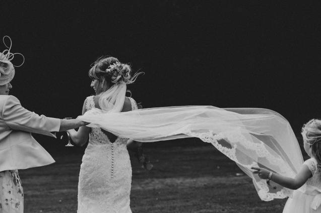 windy wedding veil