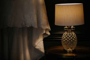 wedding dress and pineapple lamp