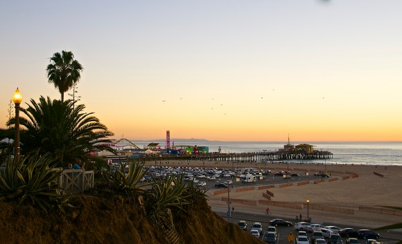 Sta. Monica Pier viewed from above sea level, Palisades Park, Sta. Monica, CA.