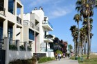 Million-dollar houses line up this part of Ocean Front Walk.