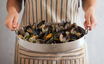 Presenting steamed mussels and clams.