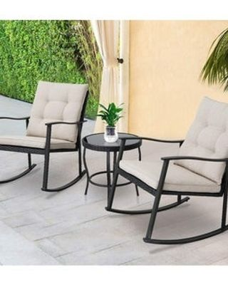 solaura solaura outdoor 3 piece new rocking wicker patio bistro set black from overstock com daily mail
