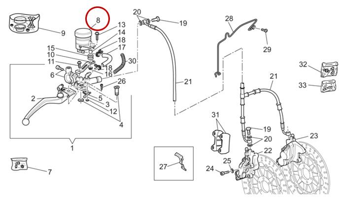 Réservoir de maître cylindre frein avant