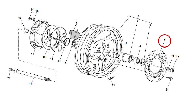Disque de frein arrière V11, 1100 Sport, Centauro, Daytona